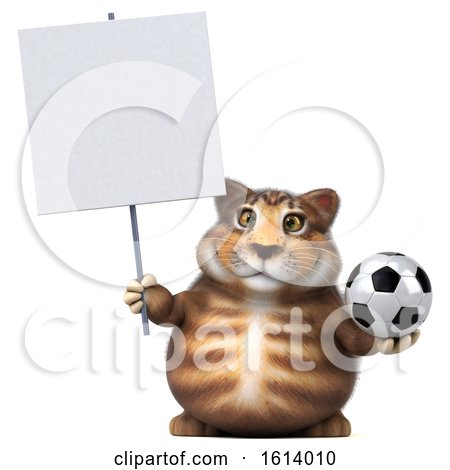 Clipart of a 3d Tabby Kitty Cat, on a White Background - Royalty Free Illustration by Julos