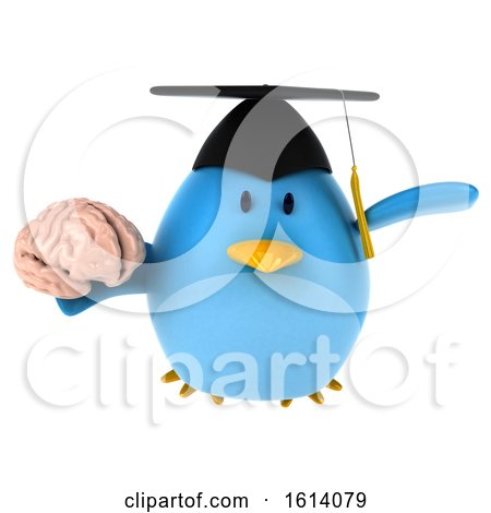 Clipart of a 3d Blue Bird Graduate, on a White Background - Royalty Free Illustration by Julos