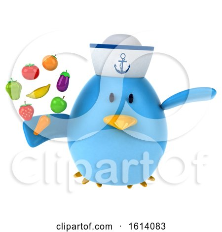 Clipart of a 3d Blue Bird Sailor, on a White Background - Royalty Free Illustration by Julos