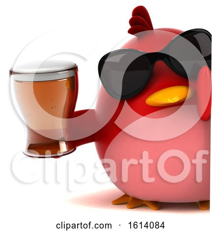 Clipart of a 3d Chubby Red Bird, on a White Background - Royalty Free Illustration by Julos