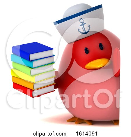 Clipart of a 3d Chubby Red Bird Sailor, on a White Background - Royalty Free Illustration by Julos