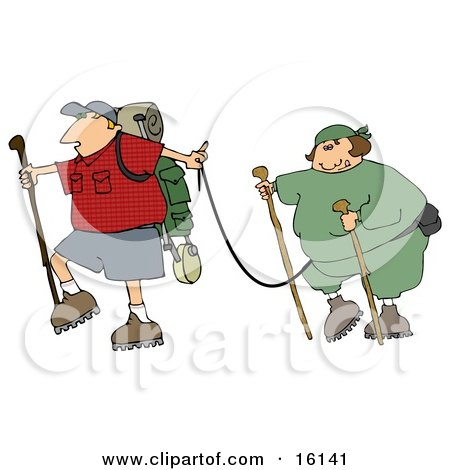 Man Carrying Hiking Gear And Holding A Leash Which Is Attached To His Overweight Wife Clipart Illustration by djart