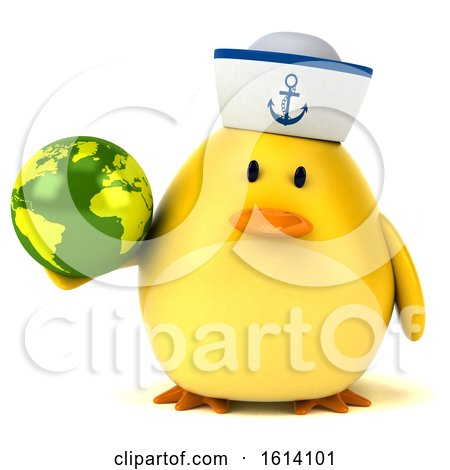 Clipart of a 3d Yellow Bird Sailor, on a White Background - Royalty Free Illustration by Julos