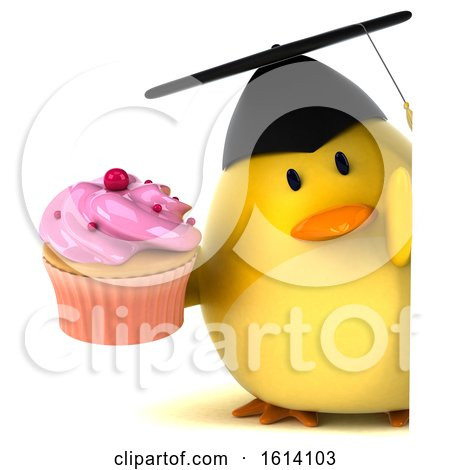 Clipart of a 3d Yellow Bird Graduate on a White Background - Royalty Free Illustration by Julos