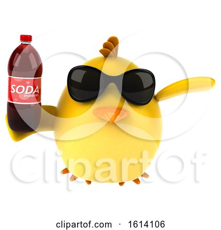 Clipart of a 3d Yellow Bird on a White Background - Royalty Free Illustration by Julos