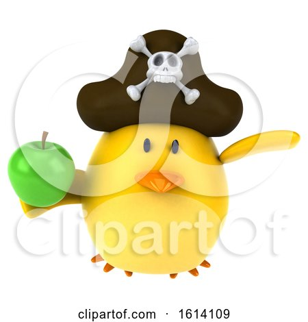 Clipart of a 3d Yellow Bird Pirate, on a White Background - Royalty Free Illustration by Julos