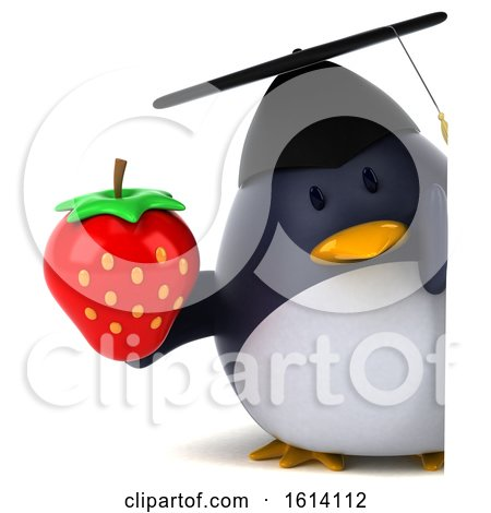 Clipart of a 3d Chubby Penguin Graduate, on a White Background - Royalty Free Illustration by Julos