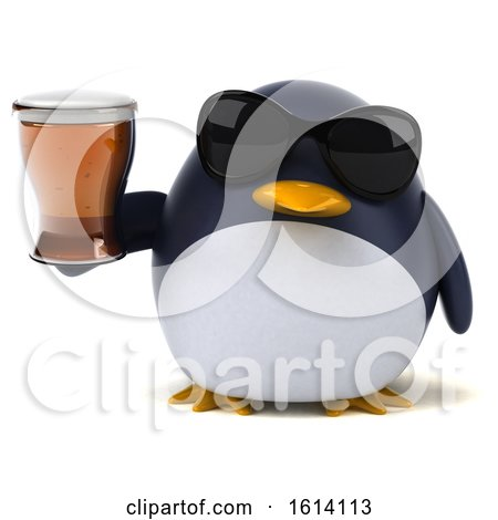 Clipart of a 3d Chubby Penguin, on a White Background - Royalty Free Illustration by Julos