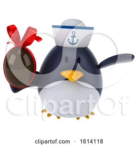 Clipart of a 3d Chubby Penguin Sailor, on a White Background - Royalty Free Illustration by Julos