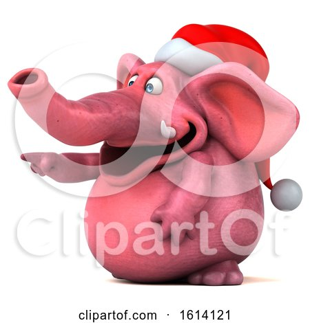Clipart of a 3d Pink Christmas Elephant, on a White Background - Royalty Free Illustration by Julos