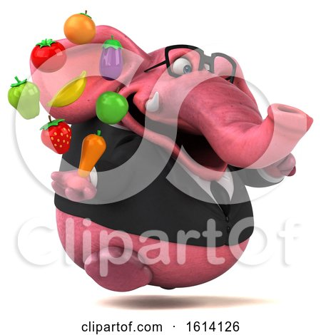 Clipart of a 3d Pink Business Elephant, on a White Background - Royalty Free Illustration by Julos