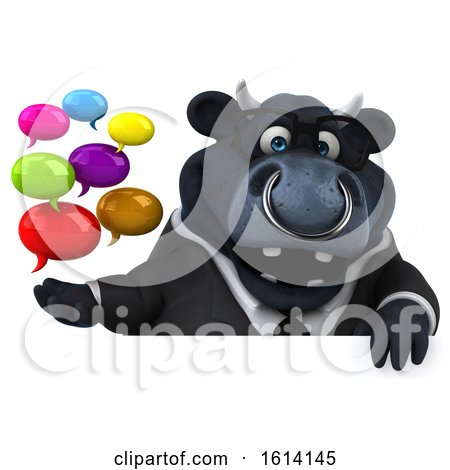 Clipart of a 3d Black Business Bull, on a White Background - Royalty Free Illustration by Julos