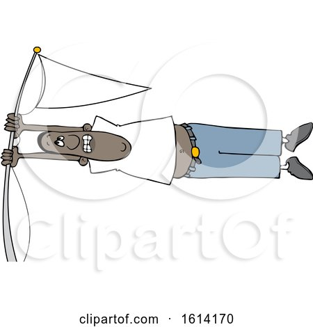 Clipart of a Cartoon Black Man Holding onto a Flag Pole in High Winds - Royalty Free Vector Illustration by djart