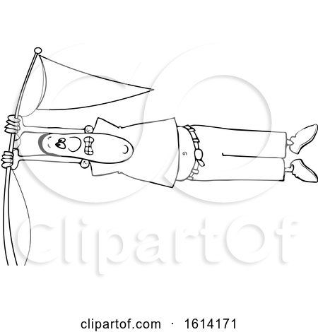 Clipart of a Cartoon Lineart Black Man Holding onto a Flag Pole in High Winds - Royalty Free Vector Illustration by djart