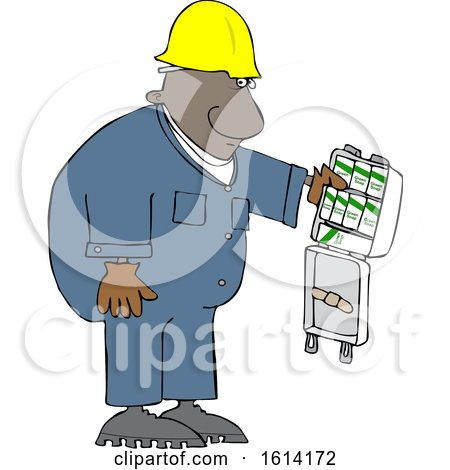 Clipart of a Cartoon Black Worker Man with an Open First Aid Kit - Royalty Free Vector Illustration by djart