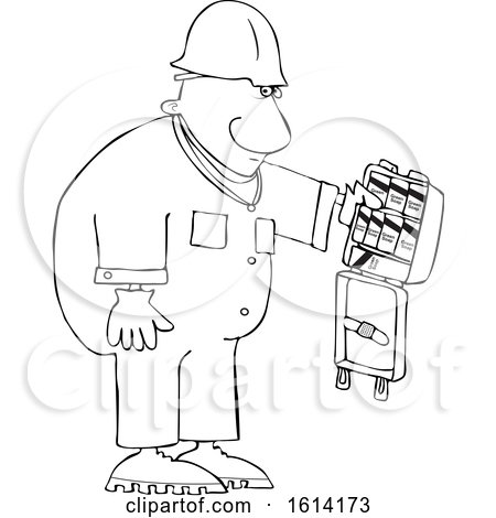 Clipart of a Cartoon Lineart Black Worker Man with an Open First Aid Kit - Royalty Free Vector Illustration by djart