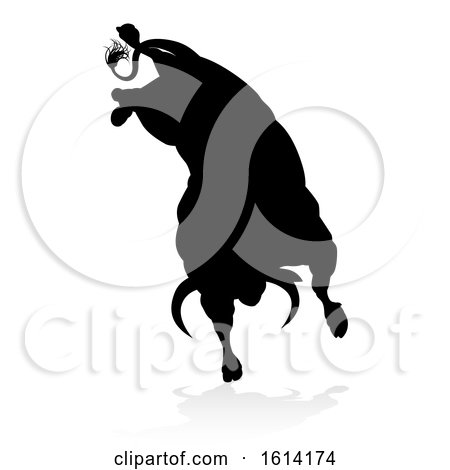 Bull Silhouette, on a white background Posters, Art Prints