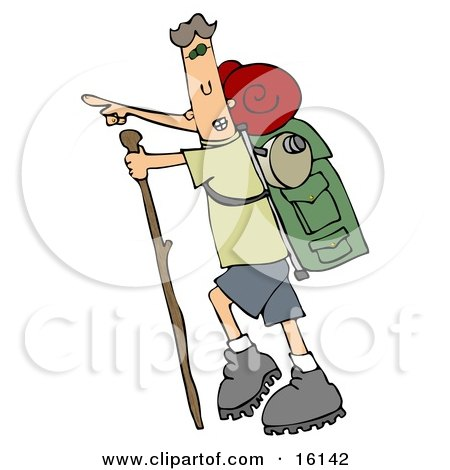 Skinny And Energetic Man Using A Stick While Hiking And Pointing Forward And Carrying Camping Gear On His Back  Posters, Art Prints