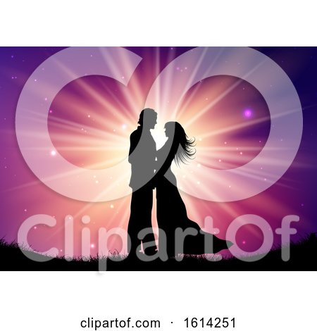 Silhouette of Wedding Couple on Starburst Background by KJ Pargeter