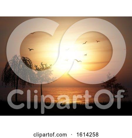 3D Silhouette of a Tree Landscape Against a Sunset Ocean Landscape by KJ Pargeter