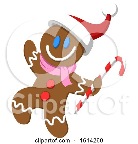 Clipart of a Christmas Gingerbread Man Carrying a Candy Cane and Waving - Royalty Free Vector Illustration by yayayoyo