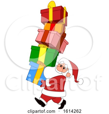 Clipart of a Cartoon Santa Claus Carrying a Tall Stack of Gifts - Royalty Free Vector Illustration by yayayoyo