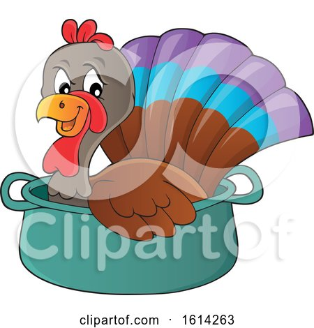 Clipart of a Turkey Bird in a Pot - Royalty Free Vector Illustration by visekart