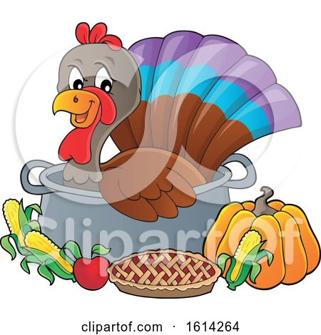 Clipart of a Turkey Bird in a Pot with Foods - Royalty Free Vector Illustration by visekart