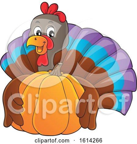 Clipart of a Turkey Bird Hugging a Pumpkin - Royalty Free Vector Illustration by visekart