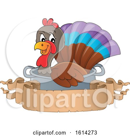 Clipart of a Turkey Bird in a Pot with a Blank Banner - Royalty Free Vector Illustration by visekart