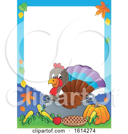 Clipart of a Border of a Turkey Bird in a Pot with Foods - Royalty Free Vector Illustration by visekart