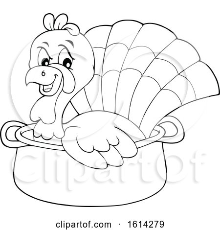 Clipart of a Lineart Turkey Bird in a Pot - Royalty Free Vector Illustration by visekart