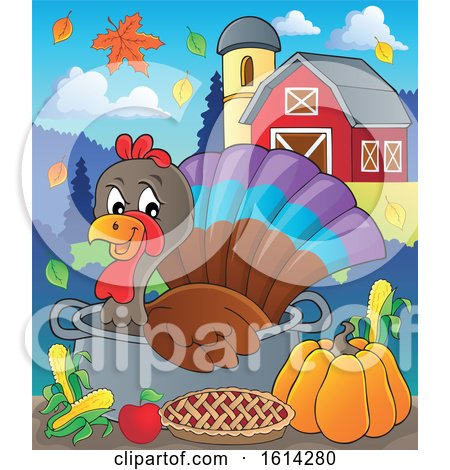 Clipart of a Turkey Bird in a Pot with Foods in a Barnyard - Royalty Free Vector Illustration by visekart