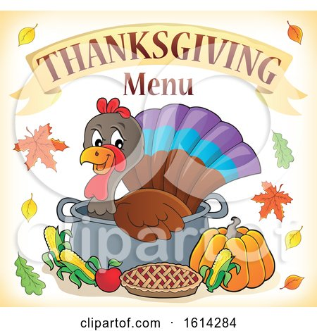Clipart of a Turkey Bird in a Pot Under Thanksgiving Menu Text - Royalty Free Vector Illustration by visekart