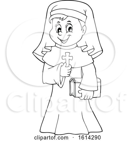 Clipart of a Lineart Happy Nun Holding a Cross - Royalty Free Vector Illustration by visekart