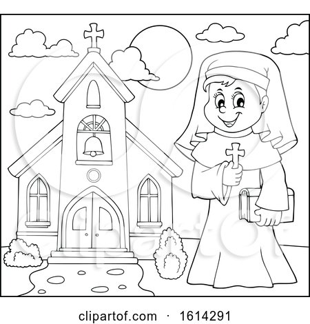 Clipart of a Lineart Happy Nun Holding a Cross Outside a Church - Royalty Free Vector Illustration by visekart