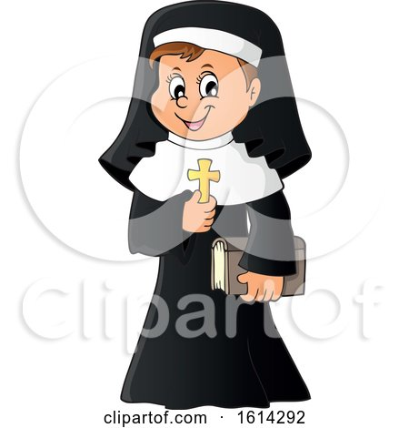 Clipart of a Happy Nun Holding a Cross - Royalty Free Vector Illustration by visekart