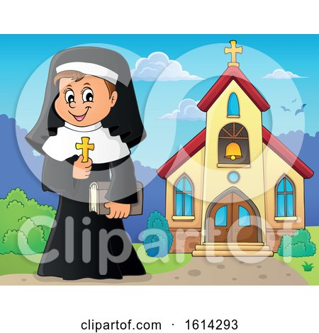 Clipart of a Happy Nun Holding a Cross Outside a Church - Royalty Free Vector Illustration by visekart