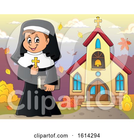 Clipart of a Happy Nun Holding a Cross Outside an Autumn Church - Royalty Free Vector Illustration by visekart