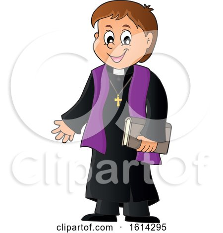 Clipart of a Happy Priest - Royalty Free Vector Illustration by visekart
