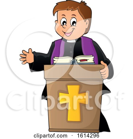 Clipart of a Happy Priest at a Podium - Royalty Free Vector Illustration by visekart