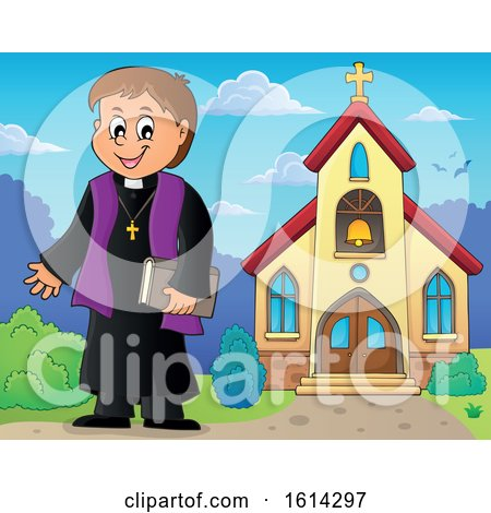 Clipart of a Happy Priest Outside a Church - Royalty Free Vector Illustration by visekart