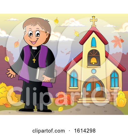 Clipart of a Happy Priest Outside an Autumn Church - Royalty Free Vector Illustration by visekart