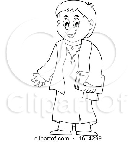 Clipart of a Black and White Happy Priest - Royalty Free Vector Illustration by visekart
