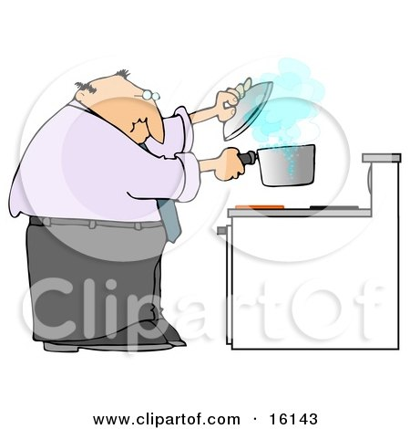 Man Trying To Cook Food In A Pot On A Stove And Watching As The Pot Boils Over  Posters, Art Prints