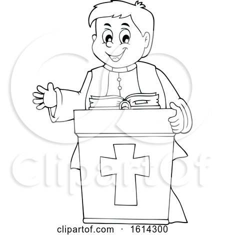 Clipart of a Black and White Happy Priest at a Podium - Royalty Free Vector Illustration by visekart