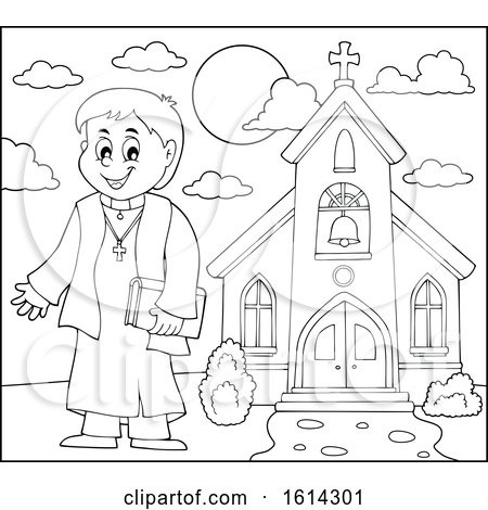 Clipart of a Black and White Happy Priest Outside a Church - Royalty Free Vector Illustration by visekart