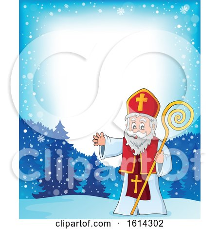 Clipart of a Snowy Border with Saint Nicholas Waving - Royalty Free Vector Illustration by visekart