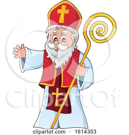 Clipart of Saint Nicholas Waving - Royalty Free Vector Illustration by visekart
