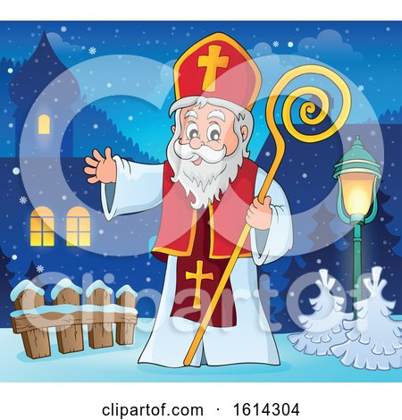 Clipart of Saint Nicholas Waving in a Village - Royalty Free Vector Illustration by visekart